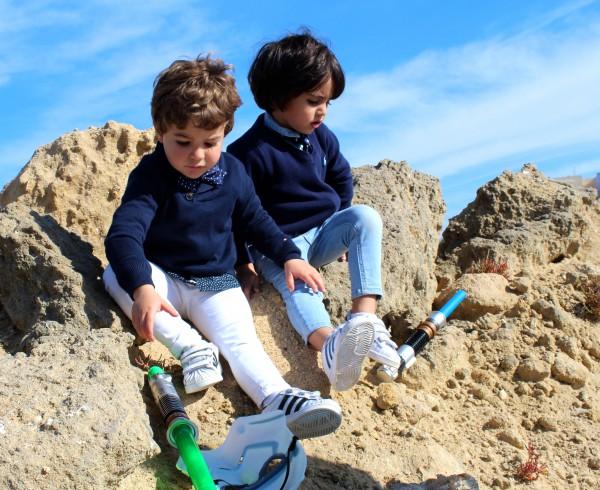 pequeños a la moda moda infantil denim corbata y pajarita