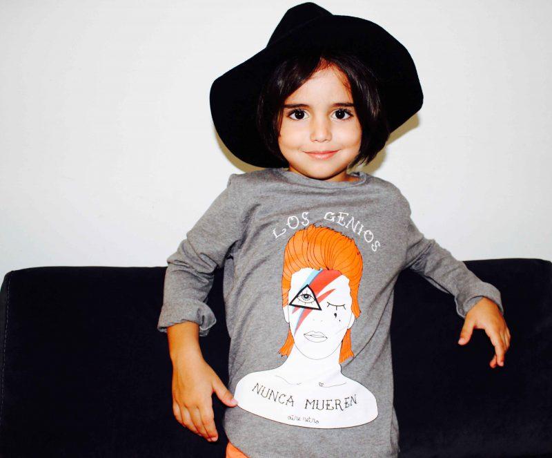 camiseta David Bowie de aire retro moda infantil almería