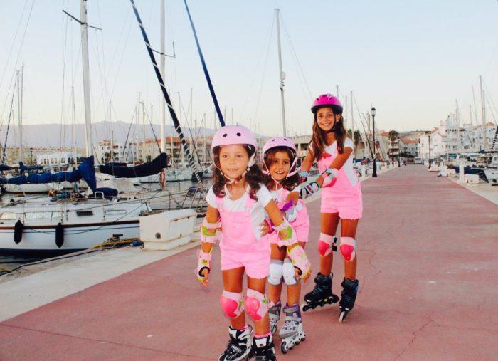 dia de patines por el puerto con mis primas y sus looks rosas moda infantil