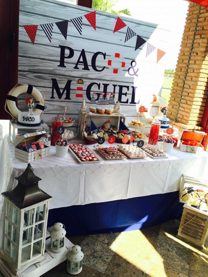 mesa dulce especial nautica en rojo y azul para moda infantil almería